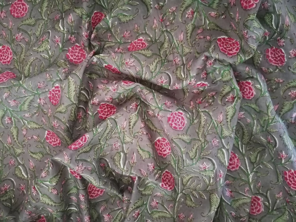 Image of Namasté fabric rosier fond anthracite