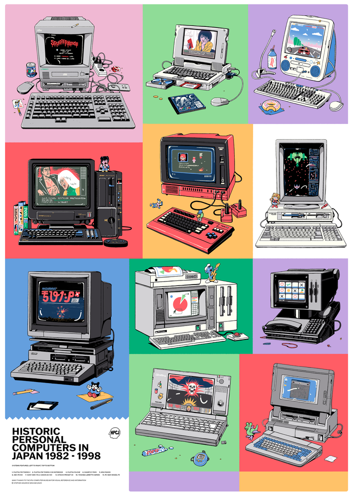 Image of Historic Personal Computers of Japan - A3 Print