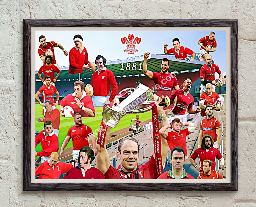 Image of WALES RUGBY - LEGENDS DIGITAL OIL PAINTING PRINT