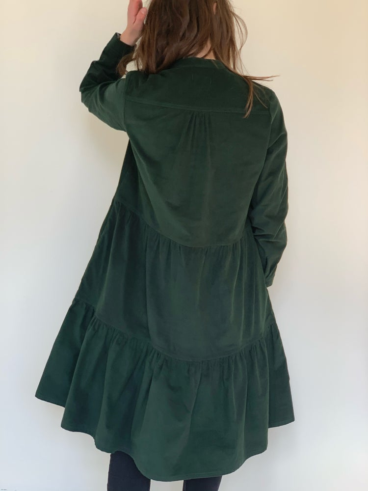 Image of Flaske grøn fløjls kjole