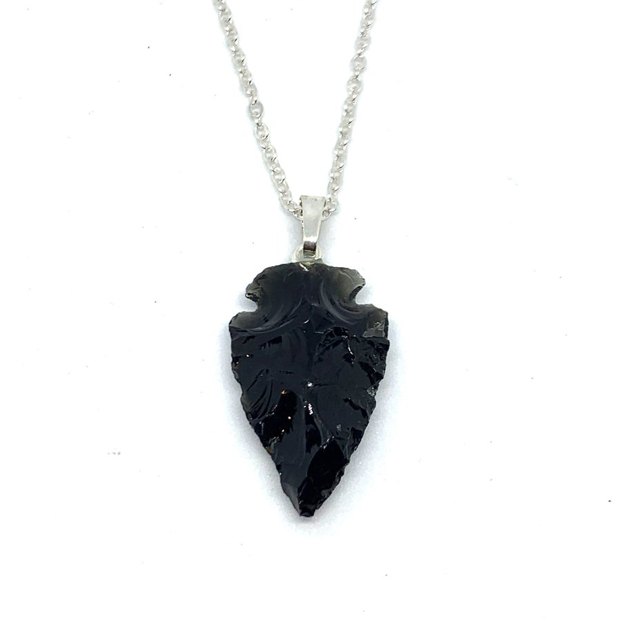 Image of Arrowhead Necklace (Obsidian)