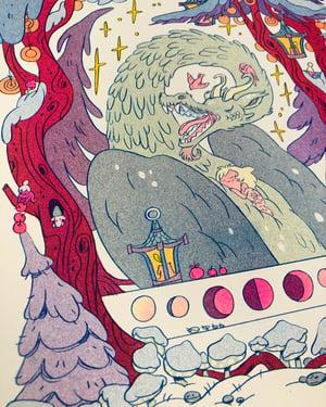 Winter Dragon Risograph Print