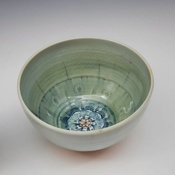 Image of Pistachio Woodfired Mandala Bowl