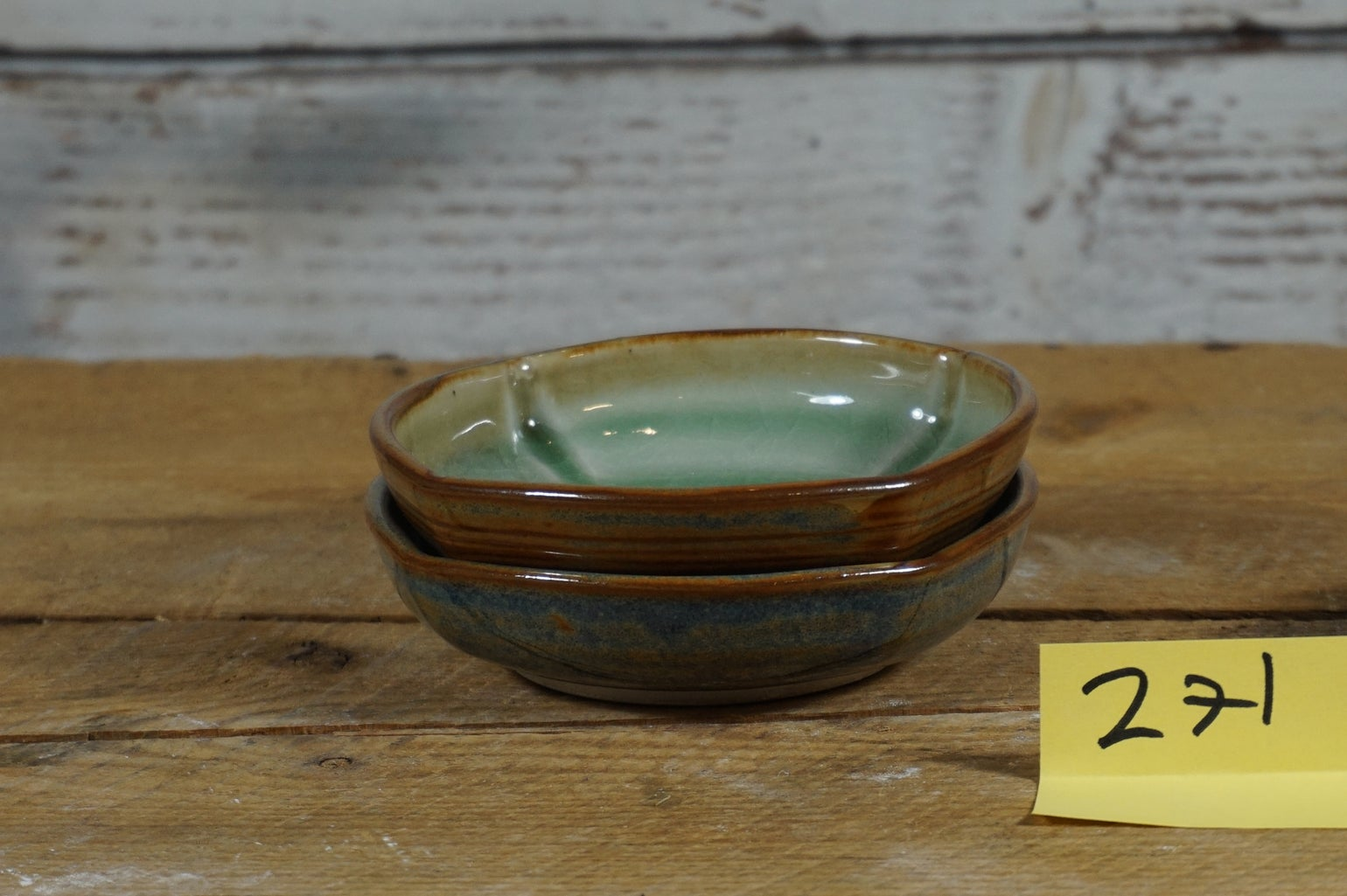 Image of Small blue/celedon cat bowls, set of 2