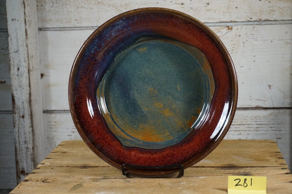 Image of Red/blue/russet serving platter set