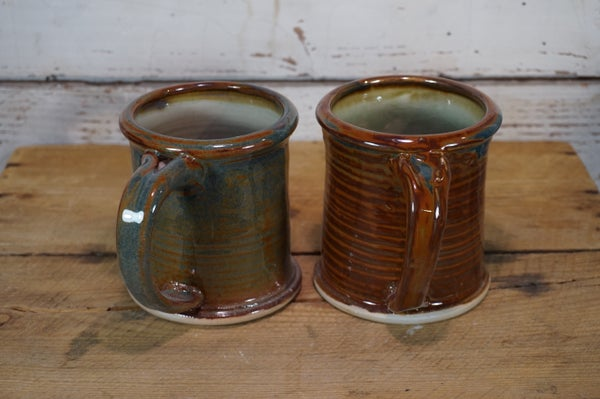 Image of Blue/Russet Rolled-Rim Mugs