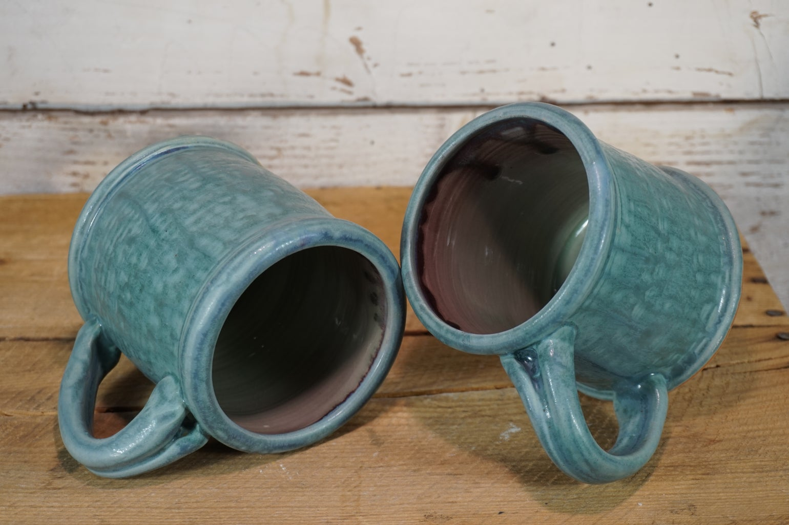 Image of Turquoise Rolled-Rim Mugs, Pair