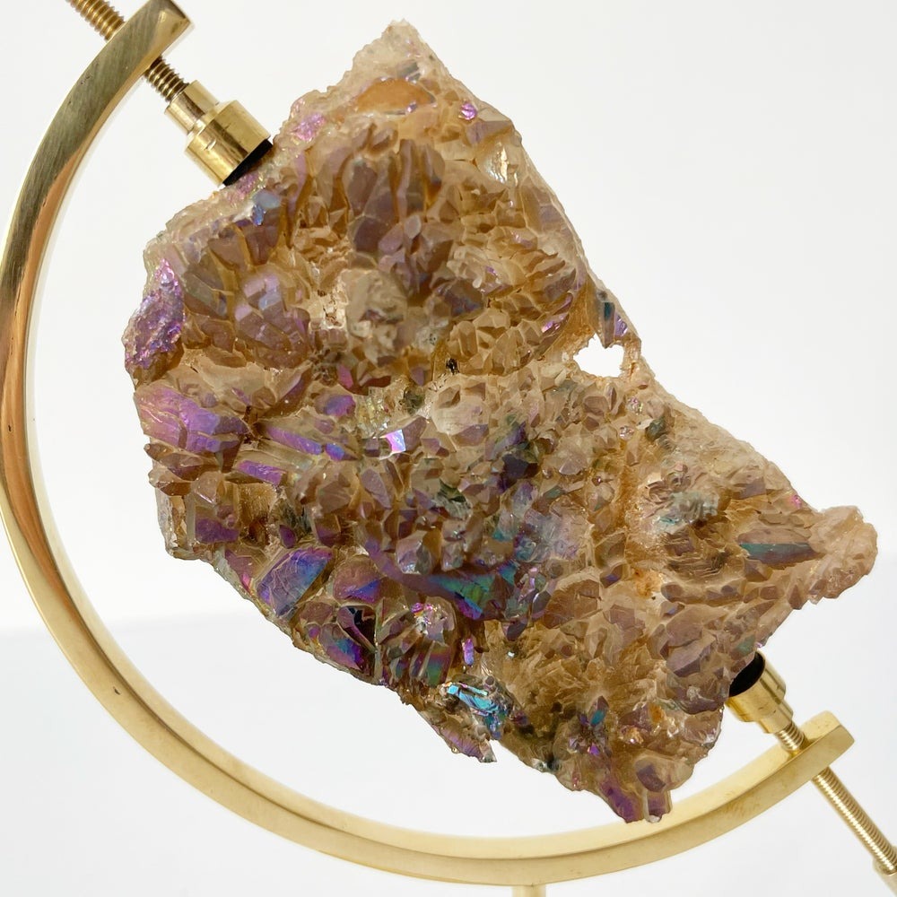 Image of Titanium Coated Amethyst no.53 + Brass Arc Stand