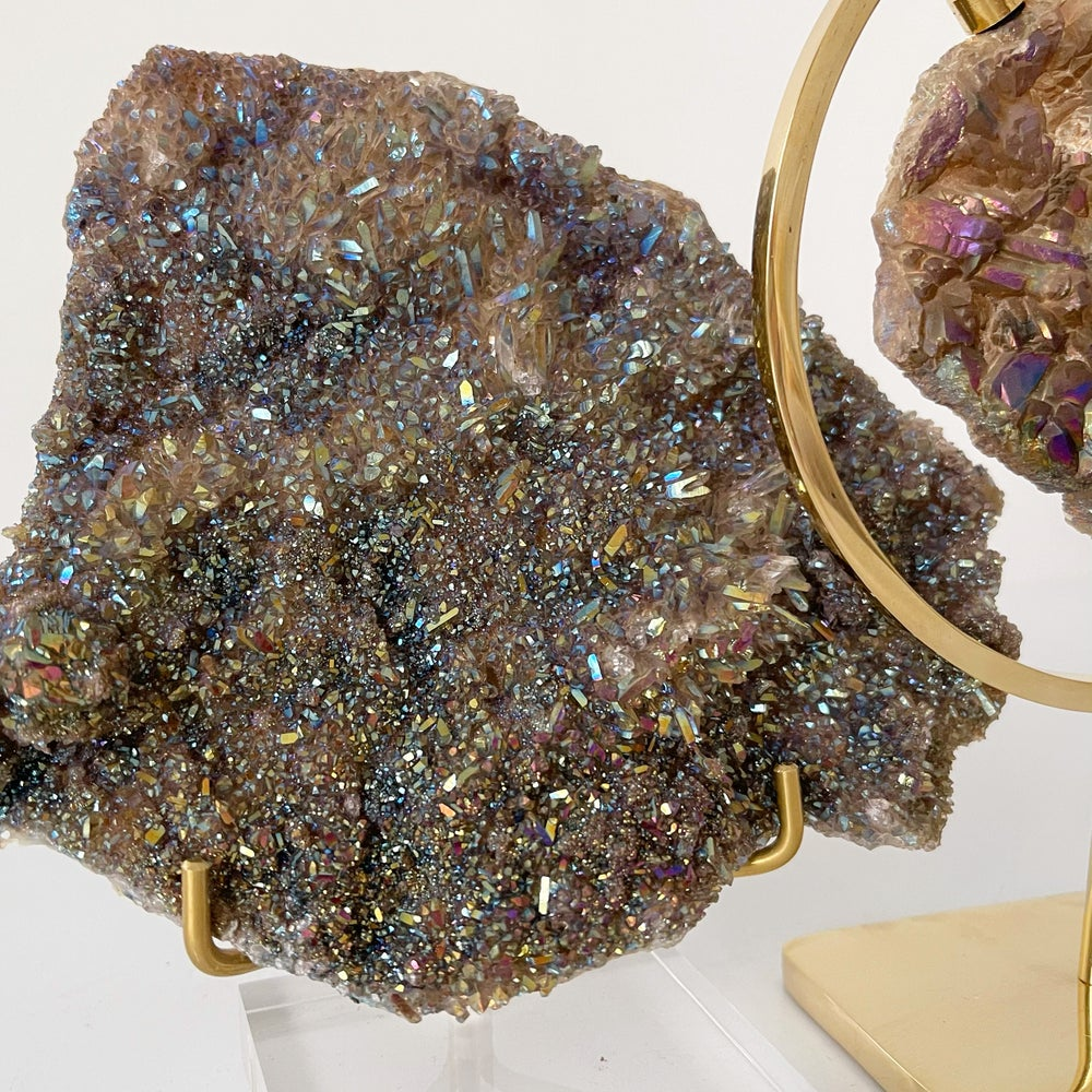 Image of Titanium Coated Amethyst no.21 + Lucite and Brass Stand