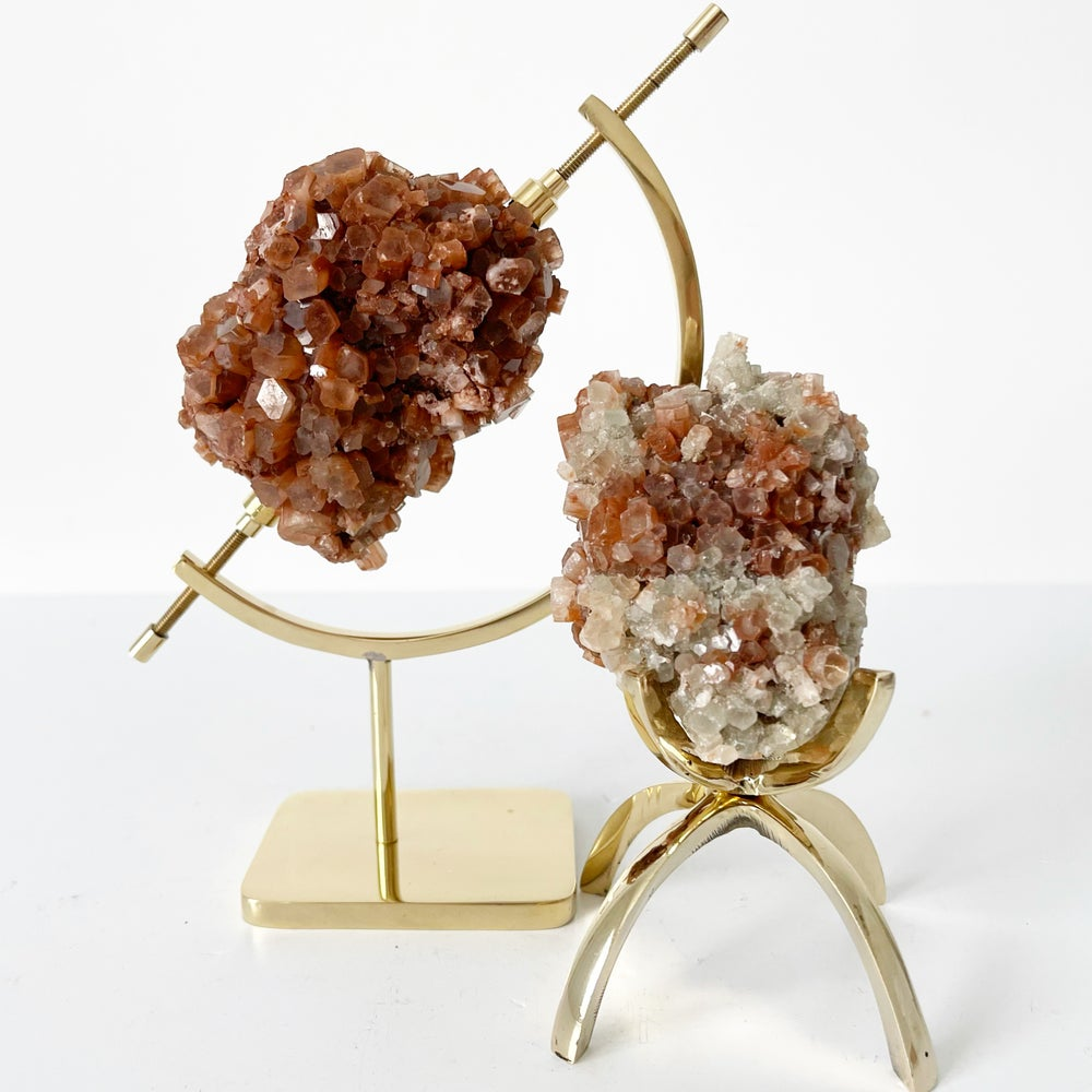 Image of Aragonite no.53 + Brass Arc Stand