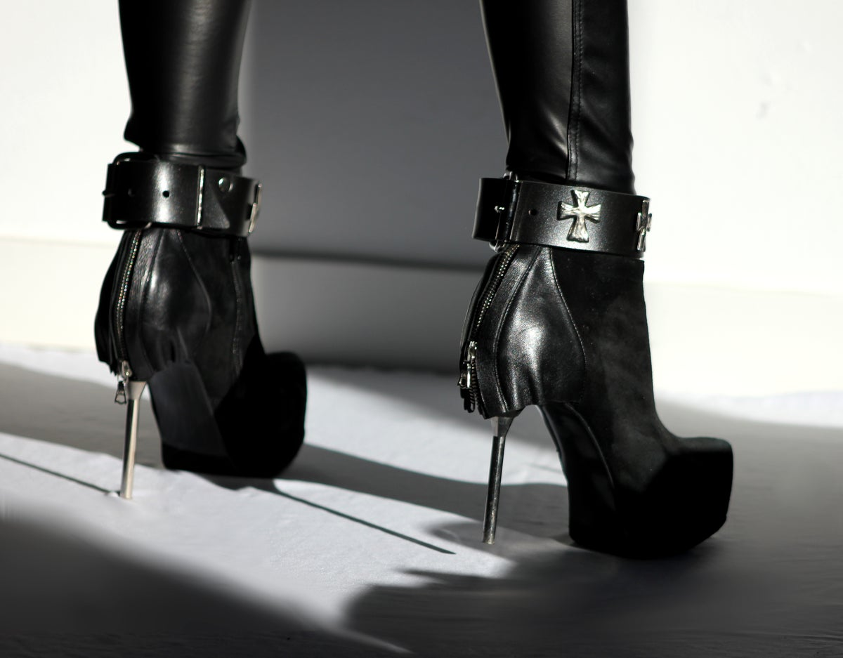 Image of MADE TO ORDER - GHOULISH CROSS BOOTSTRAP IN MATTE PVC (One Size)