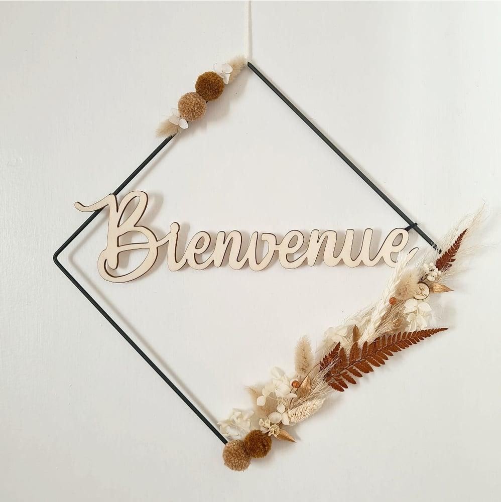 """Image of Déco """"bienvenue"""" carré fleuri"""