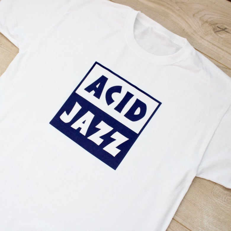 Image of Classic Acid Jazz Square T-shirt - Navy Blue Logo White T-shirt