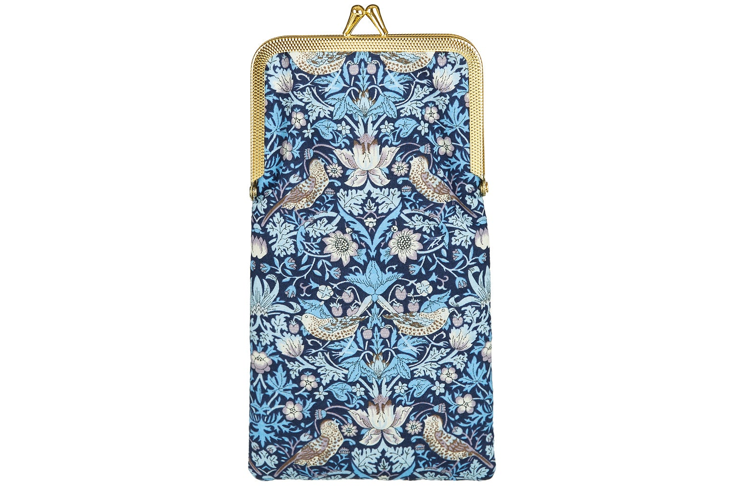 Image of Glasses case * Birds and Strawberries * Blue