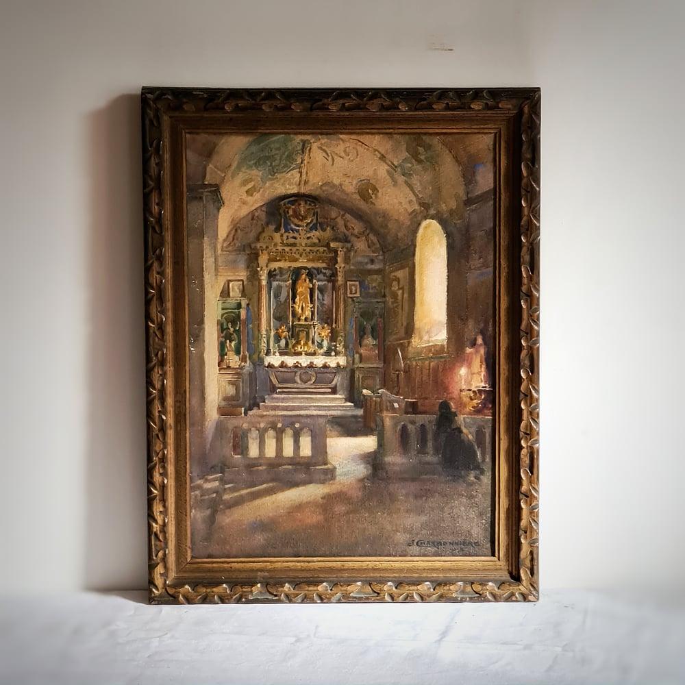 Ancien tableau chapelle de Neronde Loire aquarelle 1913