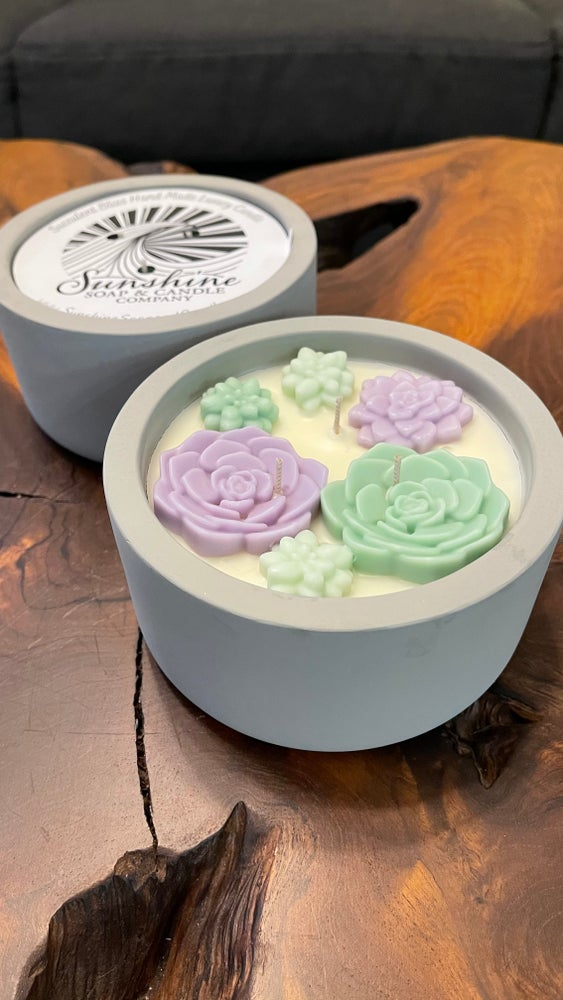 Image of Succulent Bliss 14 ounce Luxury Candle (grey)