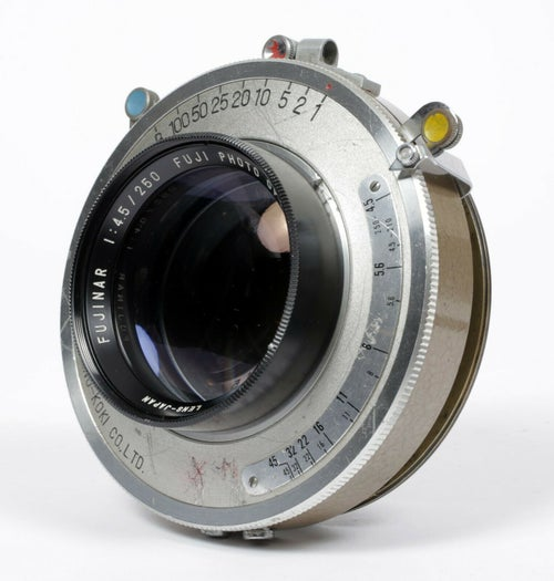 Image of Fuji Fujinar 250mm F4.5 Lens in Shanel 5B-S Shutter with flange and caps