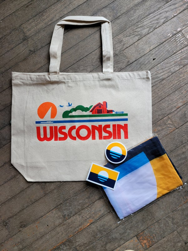 Image of Wisconsin License Plate Tote Bag