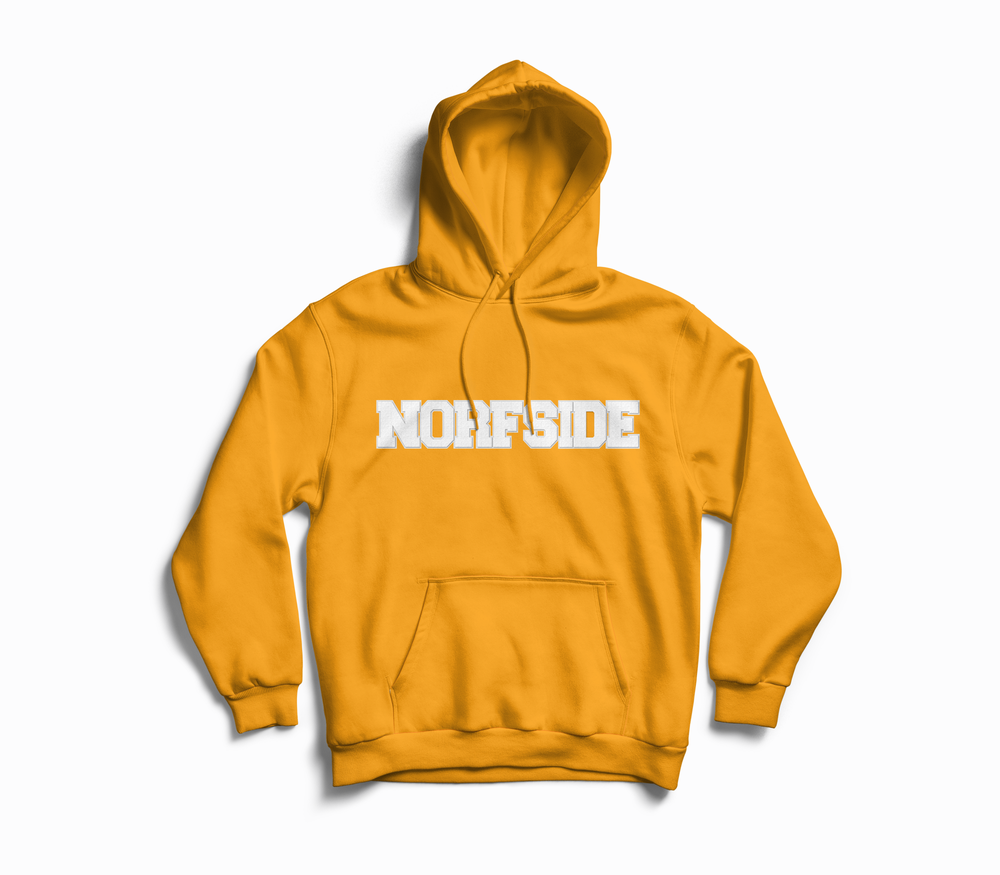 "Image of Gold ""NORFSIDE""  Chenille Patch Hoodie"