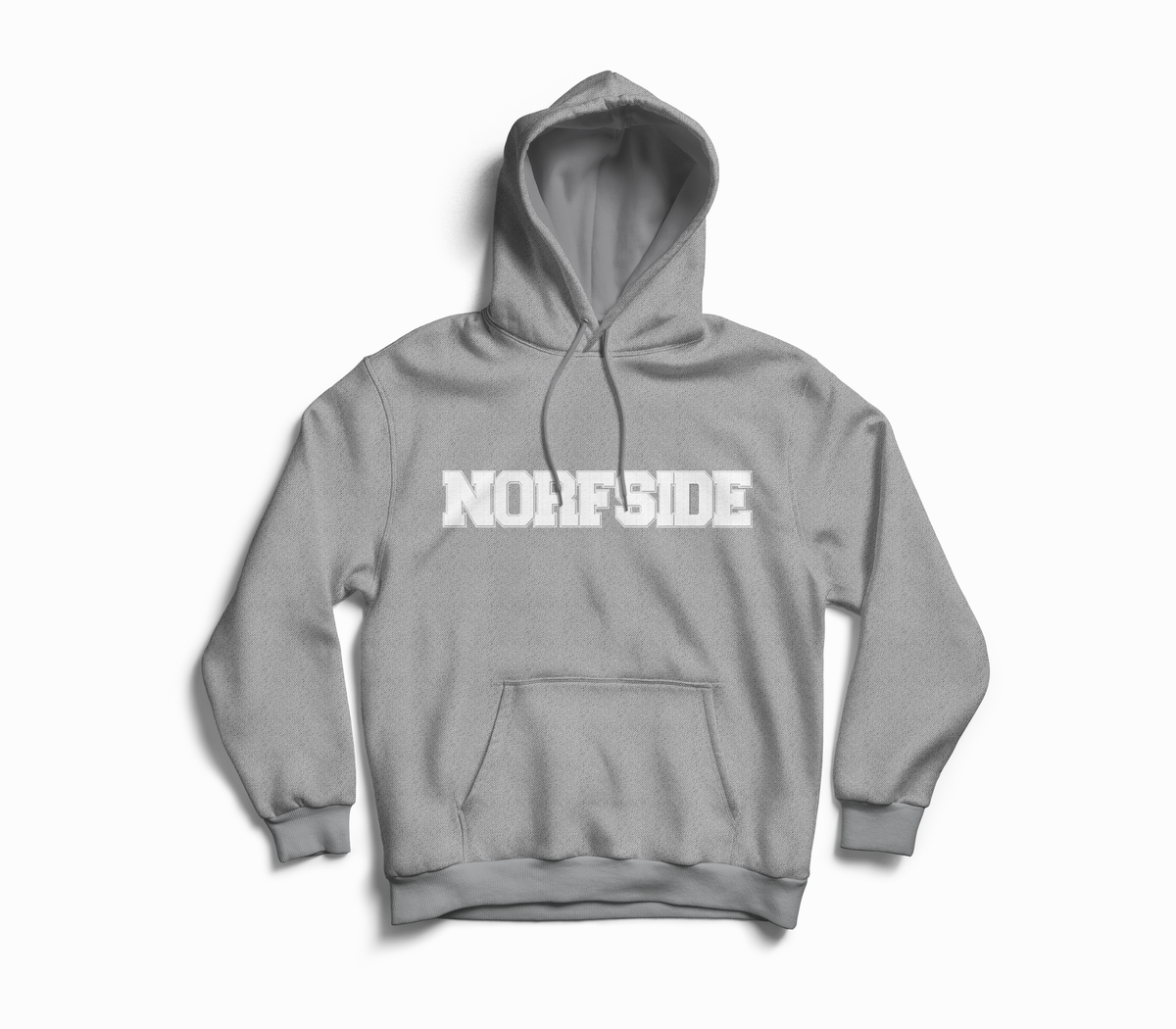 "Image of Grey ""NORFSIDE""  Chenille Patch Hoodie"