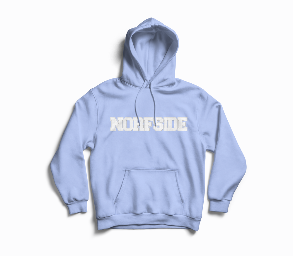 "Image of Baby Blue  ""NORFSIDE""  Chenille Patch Hoodie"