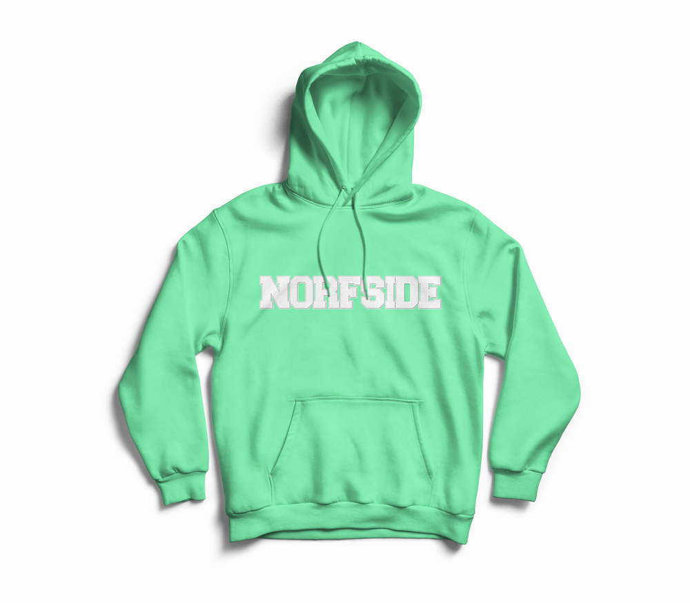 "Image of Mint Green ""NORFSIDE""  Chenille Patch Hoodie"