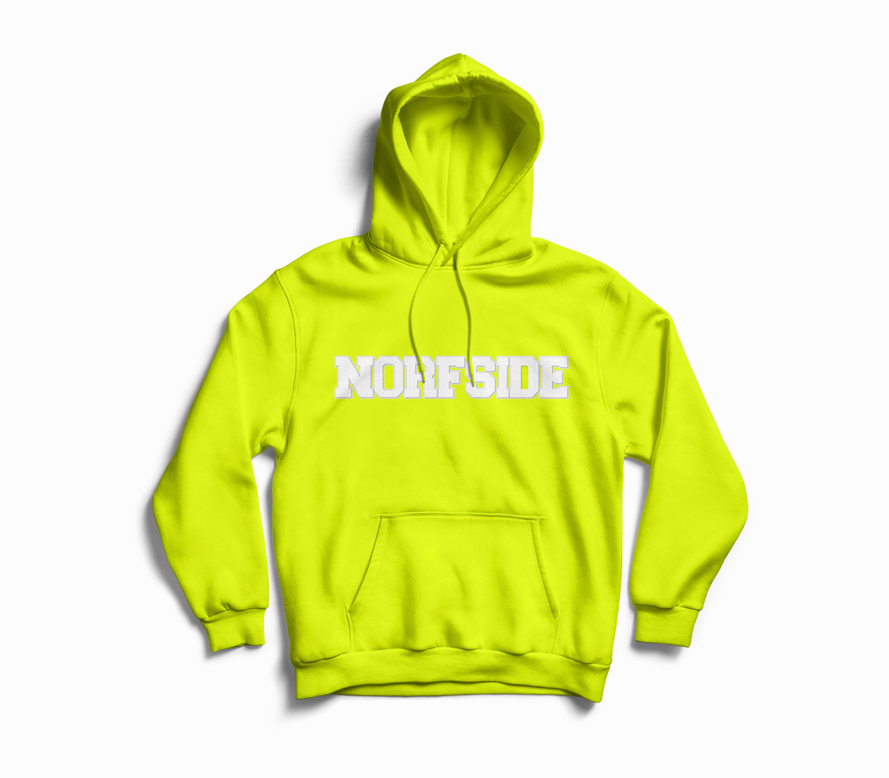 "Image of Safety Green  ""NORFSIDE""  Chenille Patch Hoodie"