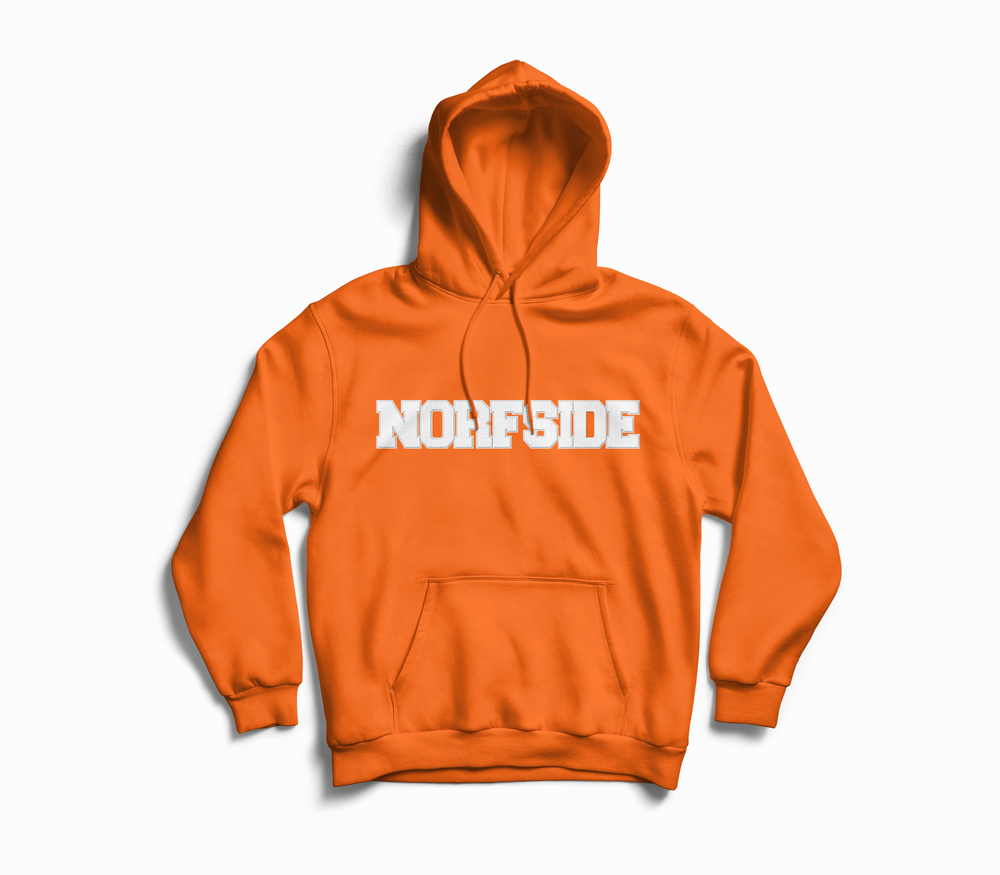 "Image of Orange ""NORFSIDE""  Chenille Patch Hoodie"