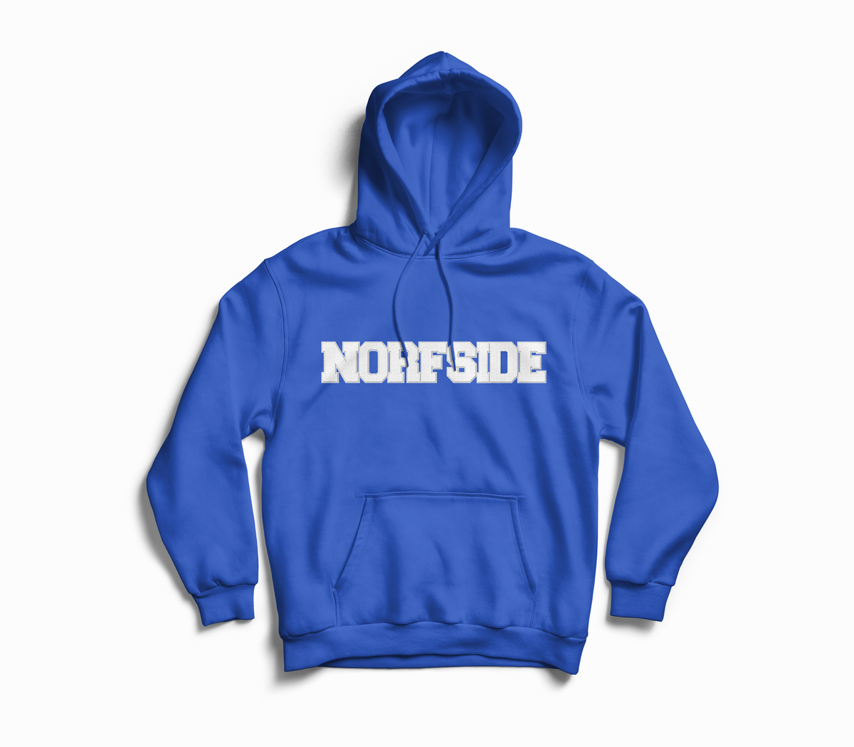 "Image of Royal Blue ""NORFSIDE""  Chenille Patch Hoodie"