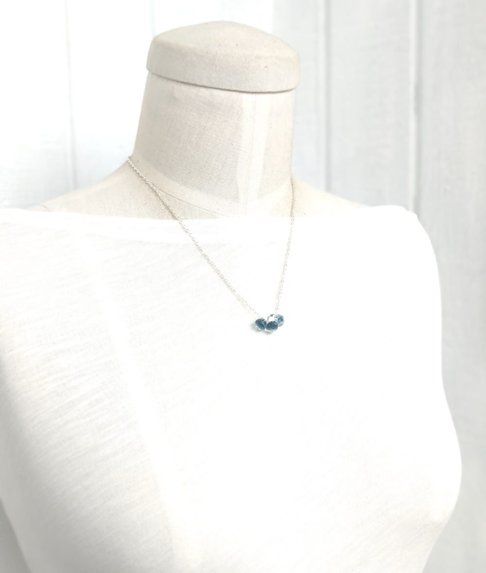 Image of Denim Glass Necklace Sterling Silver