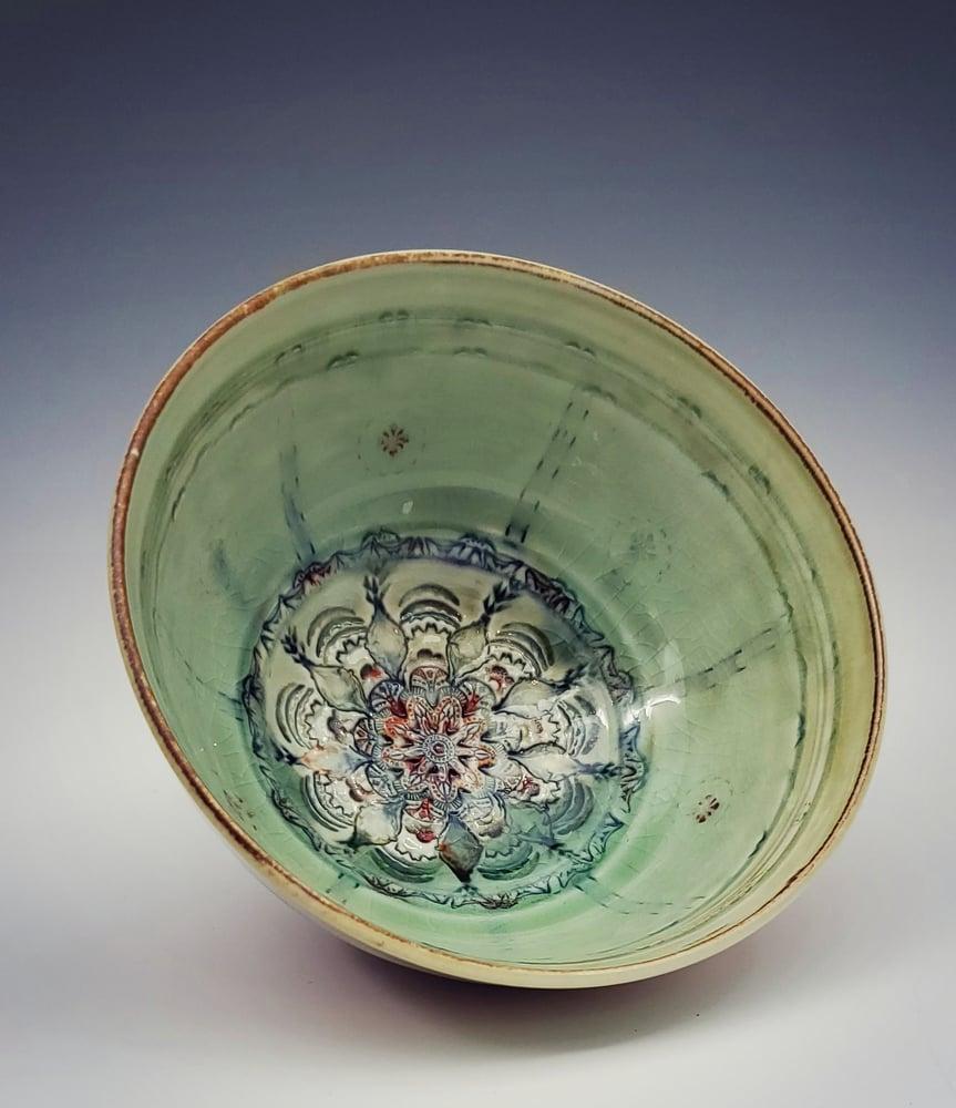 Image of Woodfired Apple Green Mandala Bowl