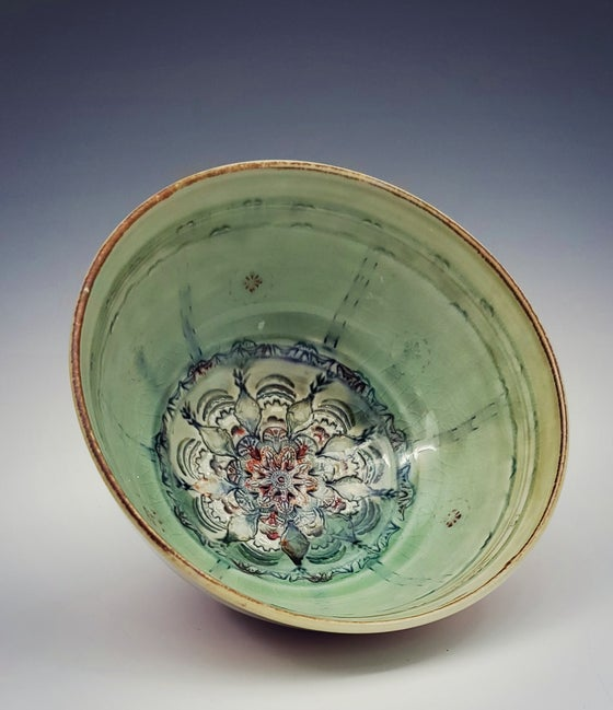 Image of Woodfired Apple Green Mandala Bowl