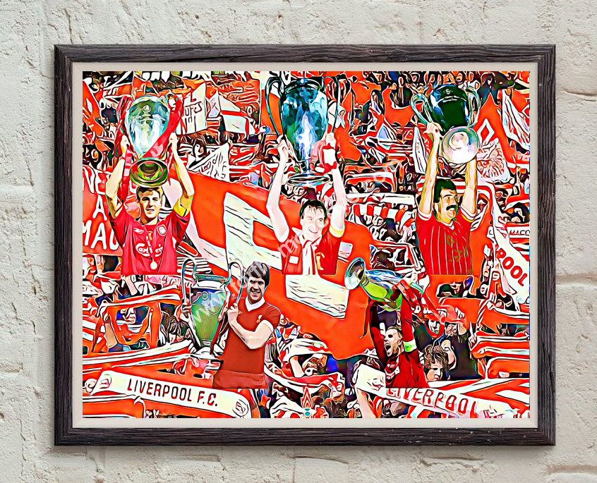 Image of LIVERPOOL EUROPEAN CUP CAPTAINS - DIGITAL OIL PAINTING PRINT