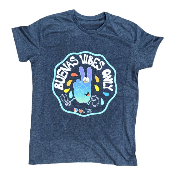 Image of Buenas Vibes Only heather denim T-shirt