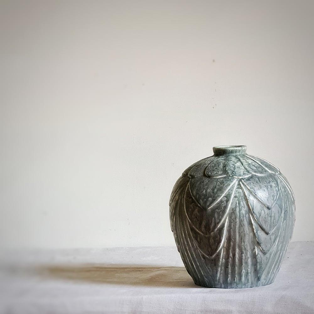 Ancien vase en grés émaillé gris circa 1900