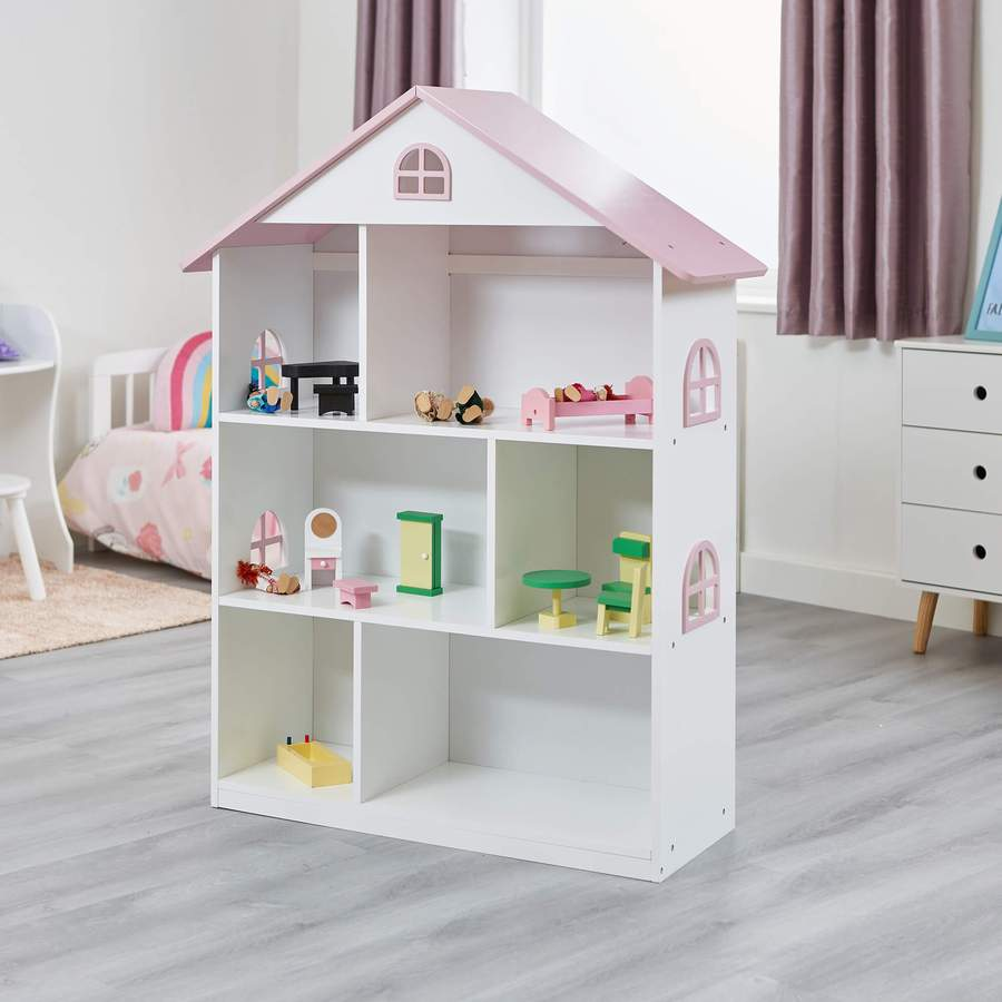 Image of Doll House Book Shelf with Pink Roof