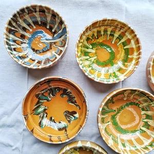 Série de 6 bols en céramique artisanale fond terra cotta
