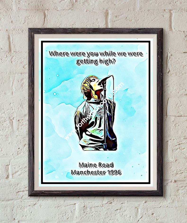 Image of LIAM GALLAGHER - MAINE ROAD 1996 - DIGITAL OIL PAINTING - PRINT