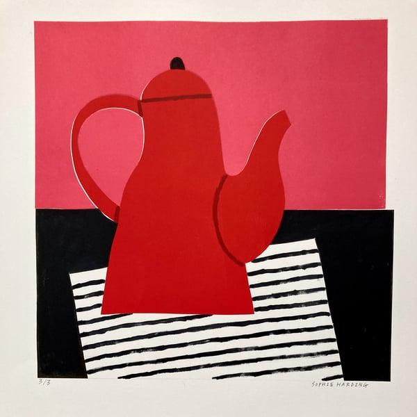 Image of Red Coffee Pot monoprint