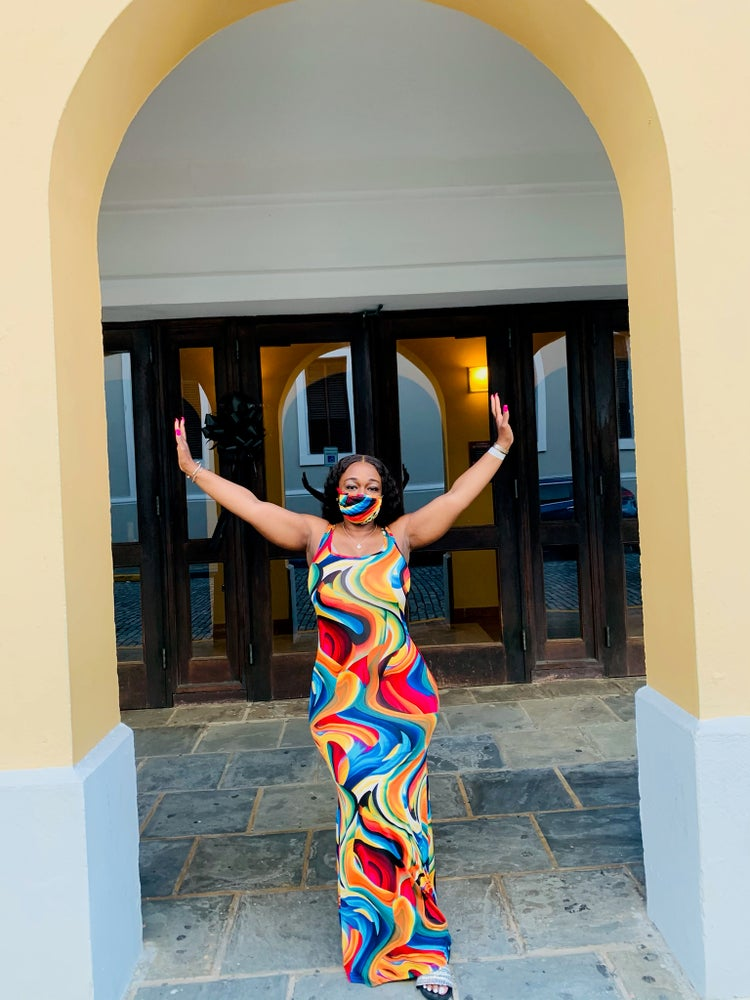 Image of Long maxi dress with matching mask(camo or multi color)