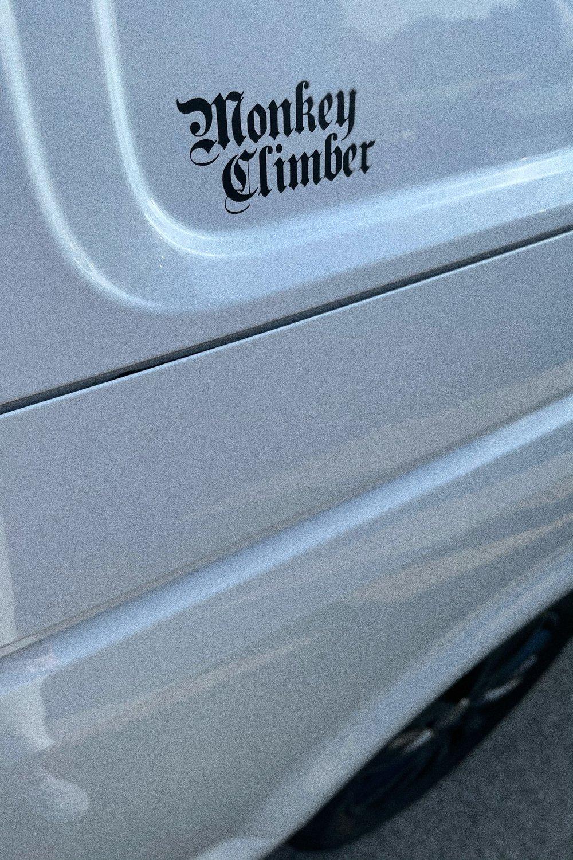 Image of Monkey Climber Vinyl Decal Sticker Monk font small I Matt Black - Sand