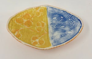 Image of Small Oval Dish - yellow and blue