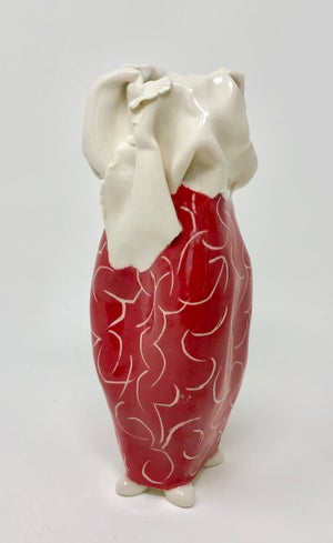Image of Red and White Vase