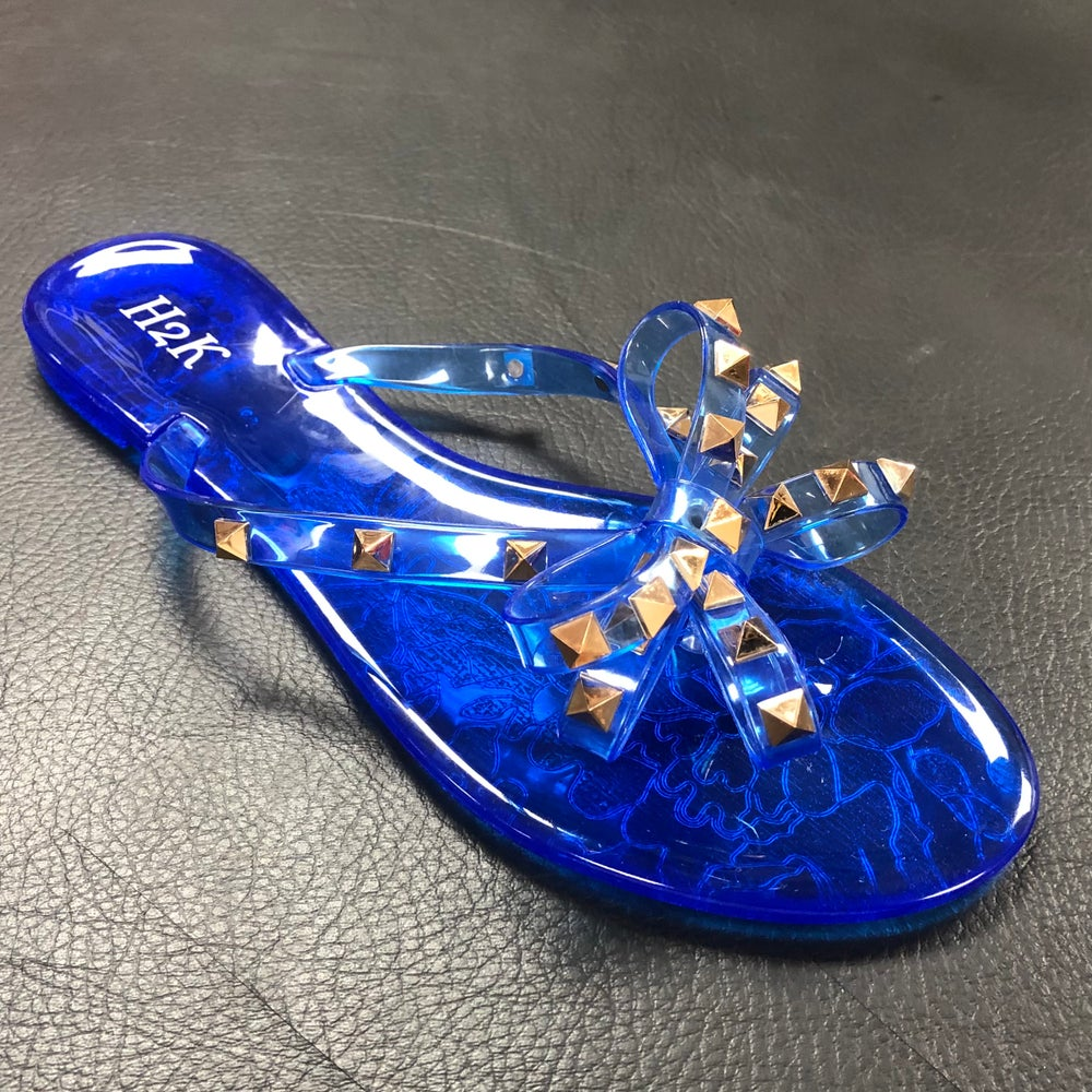 Image of #A14 ROYAL BLUE STUDDED JELLY SANDAL