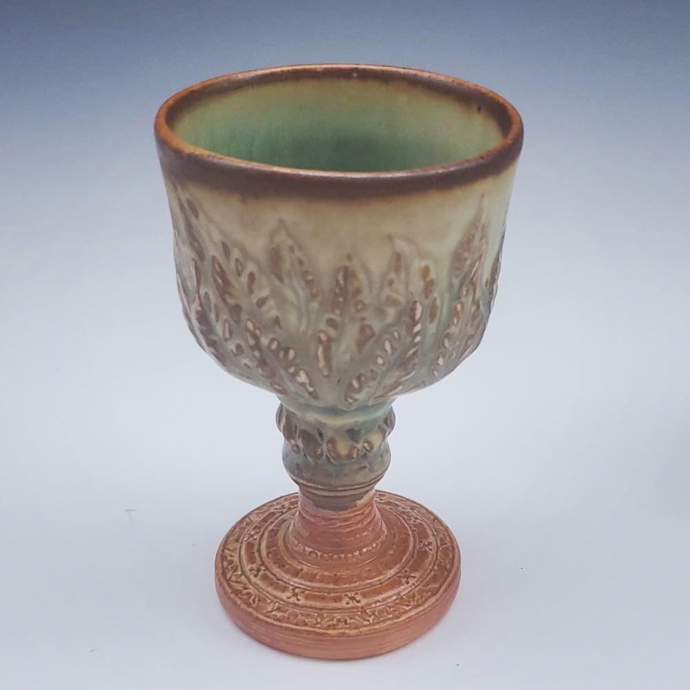 Image of Porcelain Handcarved Leaf Sacred Chalice
