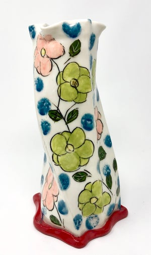Image of Vase - pink and green flowers