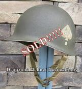 Image of WWII 101st M2 Dbale Airborne Helmet 506th PIR Paratrooper Front Seam NCO.