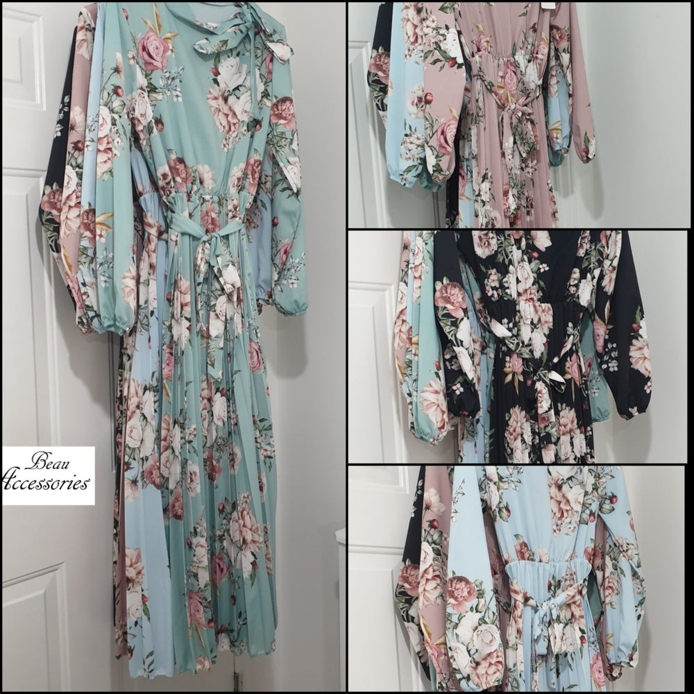Image of Floral Bow Tie Maxi Dress