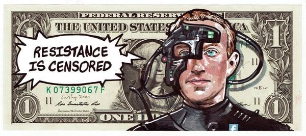 Image of Real Dollar Original. Mark Zuckerborg.
