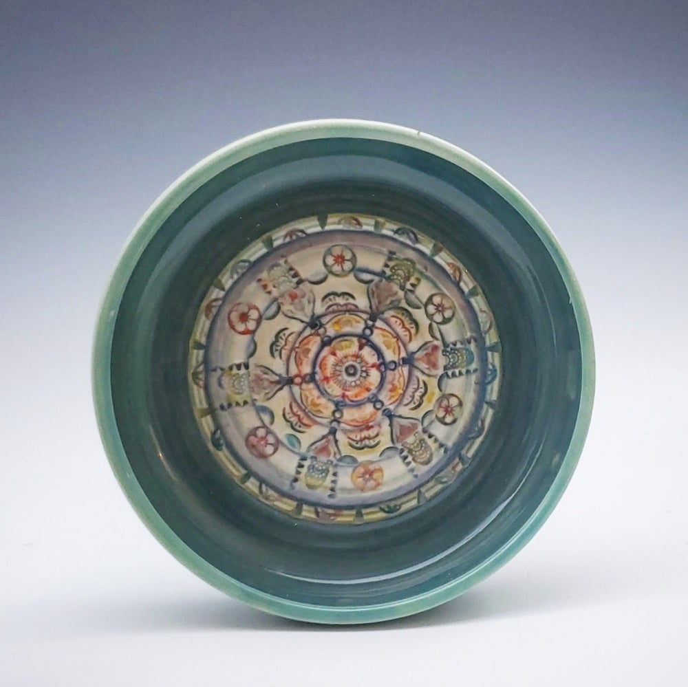 Image of Turquoise Green Mandala Flower Dish